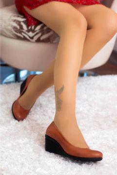 Deripabuc Hakiki Deri TABA Kadın Dolgu Topuklu Deri Ayakkabı(124974063)