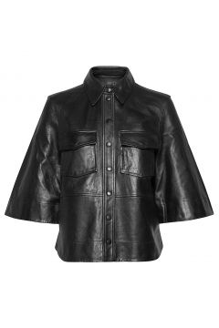 Lamb Leather Lederjacke Schwarz GANNI(118370477)