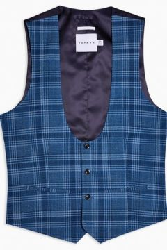 Gilet de costume skinny bleu à carreaux(110404944)
