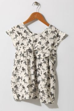 Limon Kız Çocuk At Desenli Siyah - Beyaz Elbise(113957710)