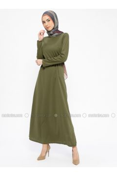 Khaki - Crew neck - Unlined - Dresses - PINK APPLE(110313848)