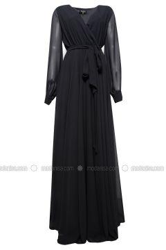 Black - Fully Lined - V neck Collar - Muslim Evening Dress - 6IXTY8IGHT(110318630)