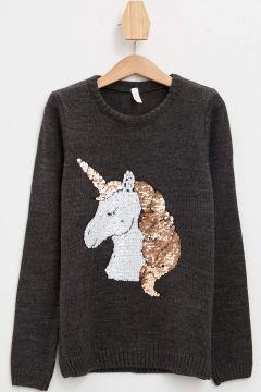 DeFacto Kız Çocuk Unicorn Pul Payet Nakışlı Triko Kazak(125924184)