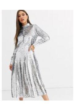 Neon Rose - Vestito camicia midi con paillettes e gonna a ruota-Argento(120331496)