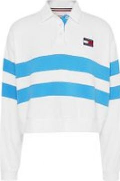 Tommy Jeans Long Sleeve Stripe Polo Shirt - WHITE(110459202)