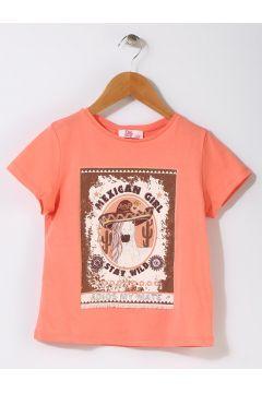 Pink&Orange Çocuk At Baskılı Mercan T-Shırt(113957735)