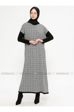 Black - Multi - Crew neck - Unlined - Acrylic -- Dresses - NOVİNZA(110332530)
