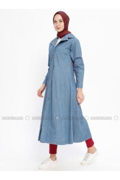 Blue - Unlined - Point Collar - Cotton - Denim - Trench Coat - Night Blue Collection(110331705)