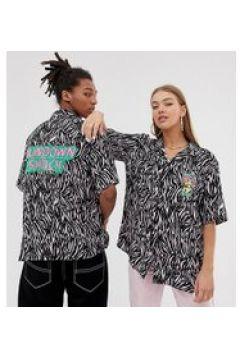 Collusion - Unisex-Hemd mit Reverskragen und Tigerprint - Rosa(93978579)