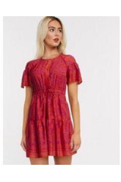 Whistles - Vestito corto rosso a strati con stampa henné(120300849)