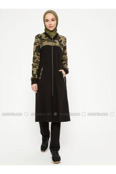 Black - Multi - Unlined - Crew neck - Topcoat - Sportify(110316782)
