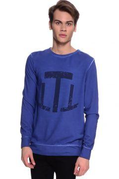 T-Box Baskılı Neon Lacivert Sweatshirt(126182069)
