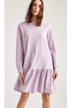 DeFacto Kadın Basic Kapüşonlu Oversize Sweat Elbise(125934993)
