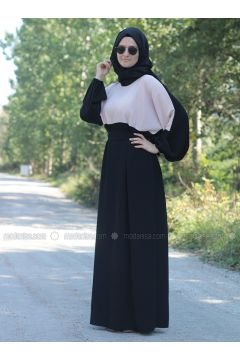 Black - Powder - Crew neck - Unlined - Dresses - Fatma Aydın(110318272)
