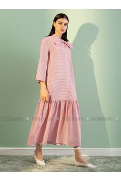 Red - Polo neck - Unlined - Dresses - Kuaybe Gider(110340752)