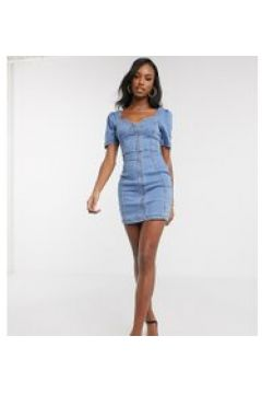 Parisian Tall - Vestito a fascia di jeans lavaggio chiaro con zip e maniche a sbuffo-Blu(122471982)