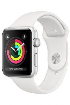 Apple Watch Seri 3 GPS 42 mm Gümüş Rengi Alüminyum Kasa ve Beyaz Spor Kordon -(122302101)