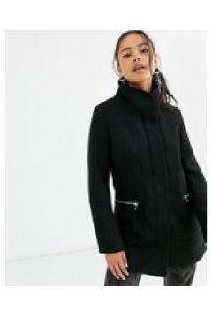 Bershka - Cappotto nero con zip sul davanti(120388448)