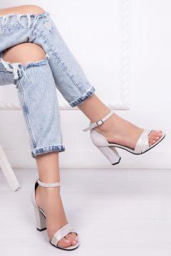 Deripabuc Hakiki Deri BEYAZ NUBUK Kadın Topuklu Deri Ayakkabı(124965893)