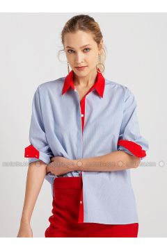 Blue - White - Stripe - Point Collar - Blouses - NG Style(110341194)