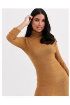Brave Soul Petite - Mandy - Vestito maglia con collo alto cammello-Marrone(120327914)