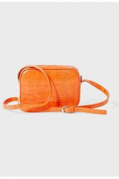 Umhängetasche mit Krokoprägung Orange(113908510)