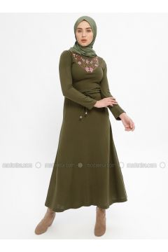 Khaki - Crew neck - Unlined -- Dresses - Mileny(110329316)