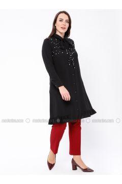 Black - Point Collar - Plus Size Tunic - Tuana(110337102)