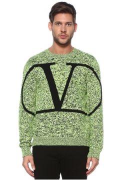Valentino Erkek Yeşil Siyah Nopeli Logolu Triko Kazak S EU(118643024)