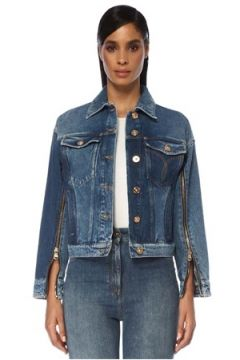 Versace Kadın Oversize Logo Nakışlı Fermuar Detaylı Jean Ceket Mavi 38 IT(120730946)
