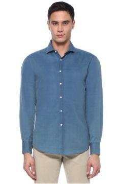 Brunello Cucinelli Erkek Slim Fit Mavi Yarı İtalyan Yaka Gömlek Lacivert M EU(107433880)