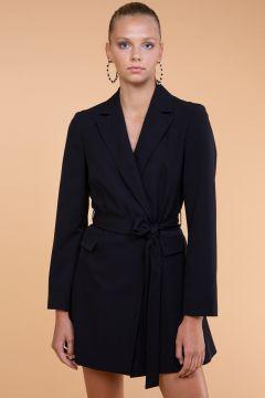 Selma Çilek Beli Bağcıklı Uzun Siyah Ceket(122401802)
