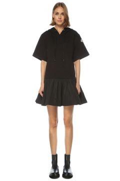 Moncler Kadın Siyah Kapüşonlu Etek Garnili Mini Elbise S EU(122296622)