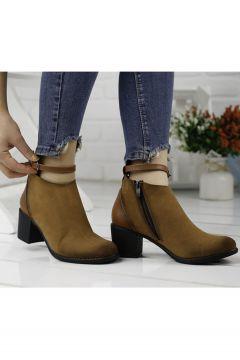 Ayakland Kadın Taba 5,5 cm Topuk Süet Bot Ayakkabı 8422-837(121598985)