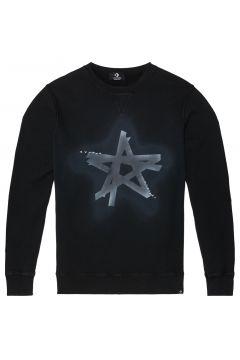Distressed Faded Dye Black Star Langärmliges Rundhalsshirt Black(103483781)
