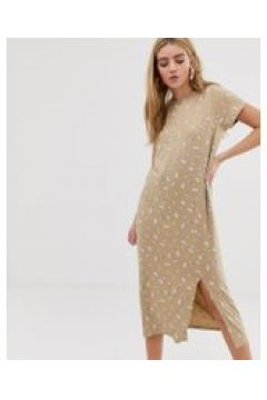 Daisy Street - Mit Blumen bedrucktes Midi-T-Shirt-Kleid mit Schlitz - Rosa(91510132)