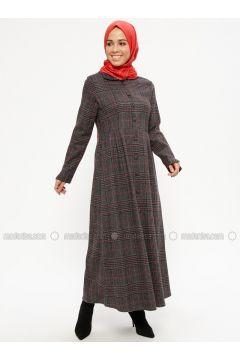 Black - Plaid - Unlined - Round Collar - Topcoat - ZENANE(110332362)