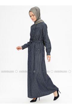 Navy Blue - Stripe - Crew neck - Unlined - Dresses - NEVA(110332515)