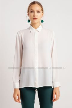 White - Point Collar - Blouses - NG Style(110341192)