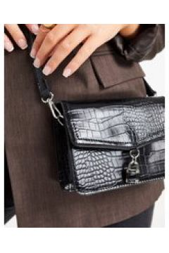 Truffle Collection - Borsa a tracolla nero coccodrillo con lucchetto(123794539)