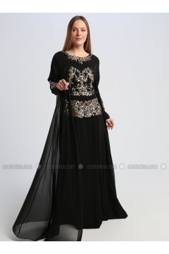 Black - Fully Lined - Crew neck - Muslim Evening Dress - Le Mirage(110337560)