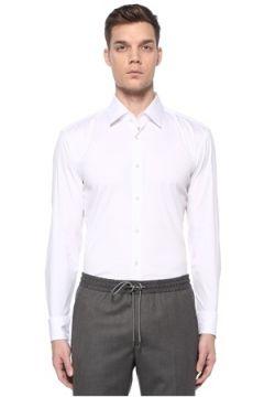 Boss Erkek Slim Fit Beyaz İngiliz Yaka Travel Gömlek 44 IT(108972779)