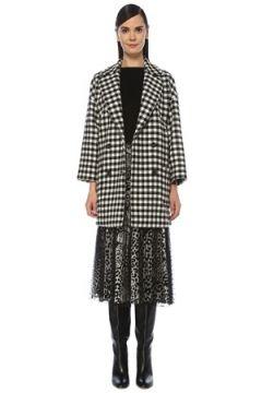 Red Valentino Kadın Siyah Beyaz Kareli Kruvaze Yün Palto 42 IT(118330375)