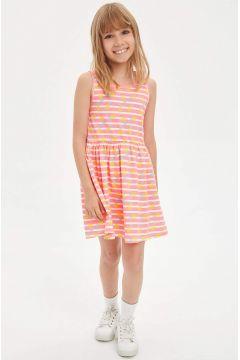 DeFacto Kız Çocuk Baskılı Kolsuz Örme Elbise(119060463)