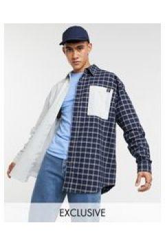Reclaimed Vintage Inspired - Camicia Oxford con design diviso a quadri e righe-Multicolore(123889806)