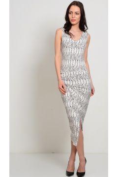 Liquorish Desenli Yırtmaç Detaylı Elbise(113949739)