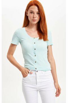 DeFacto Kadın Düğmeli Geniş Yaka T-shirt(108641275)