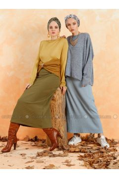 Khaki - Unlined - Skirt - Muni Muni(110330521)