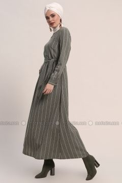 Khaki - Stripe - Crew neck - Unlined - Cotton - Dresses - Refka(110317055)