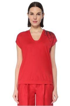 Brunello Cucinelli Kadın Kırmızı U Yaka Omzu Nakışlı T-shirt S EU(127770397)